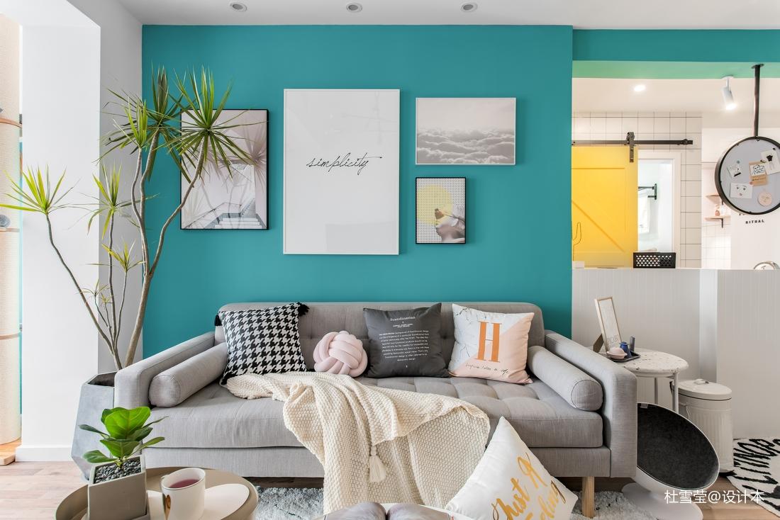 明亮74平北欧二居客厅装修设计图