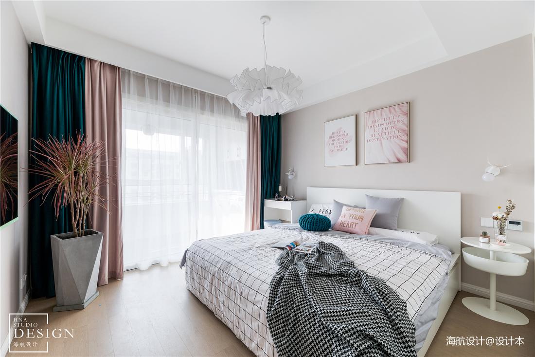 粉色浪漫北欧风卧室设计图