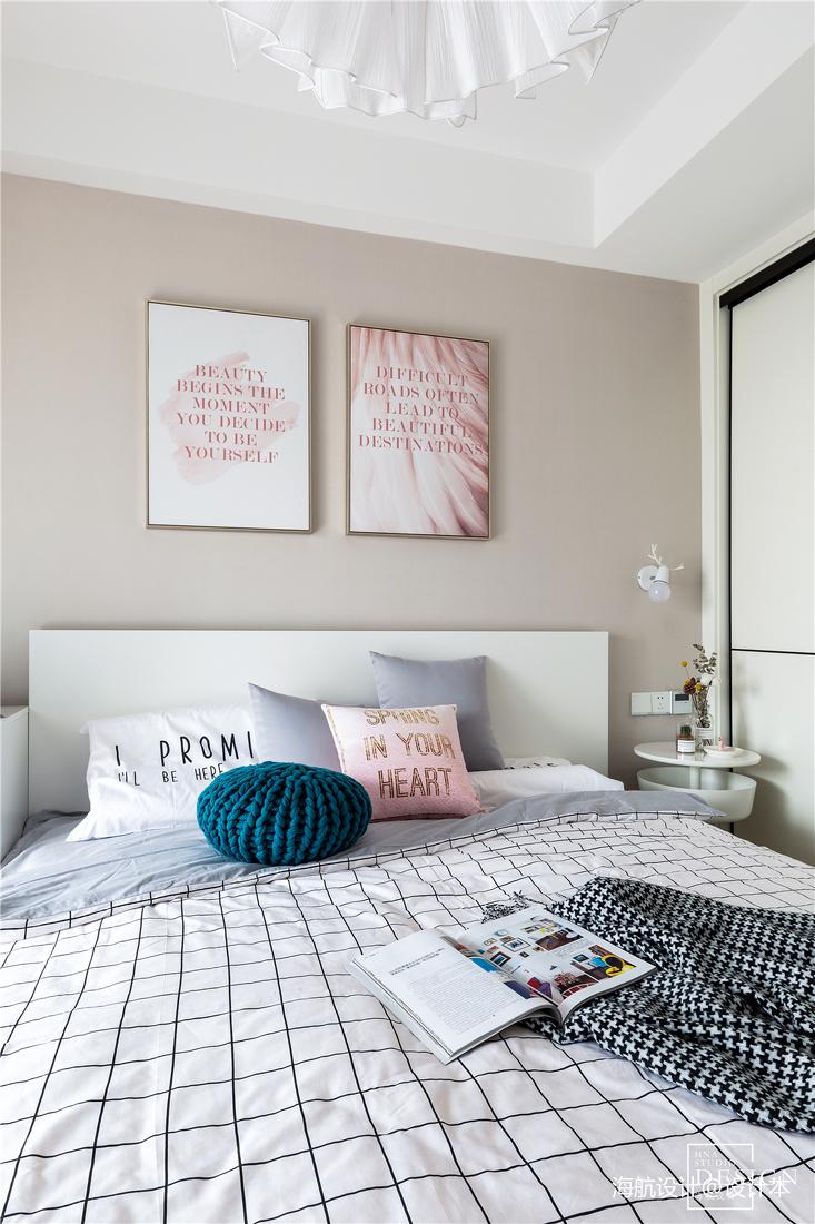 粉色浪漫北欧风卧室背景画图