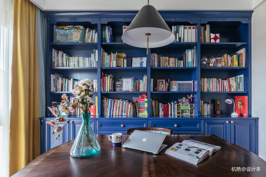 优雅98平美式四居书房装修设计图