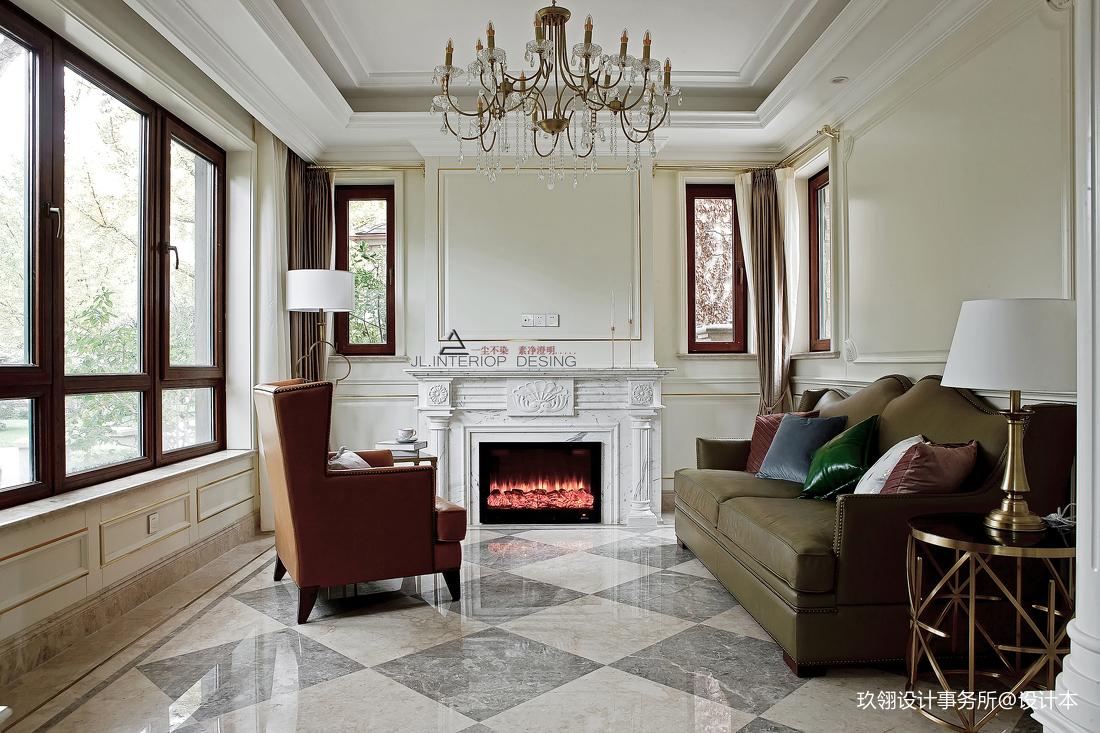 法式別墅客廳壁爐設計圖