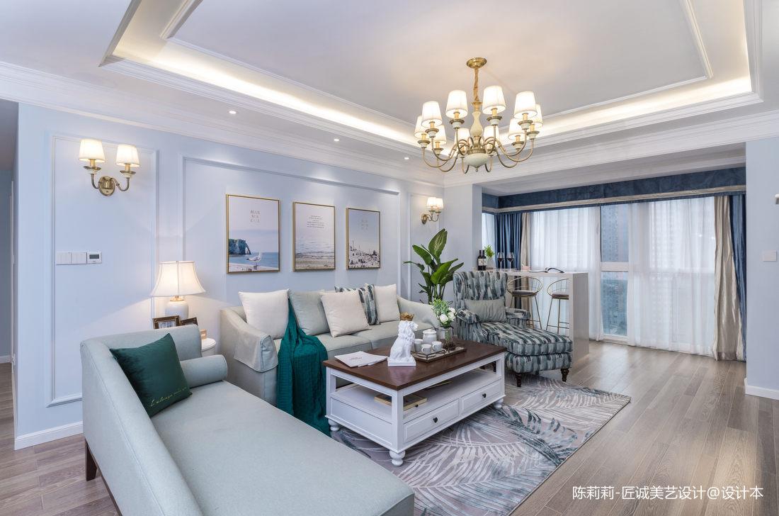 悠雅86平美式三居客厅设计美图