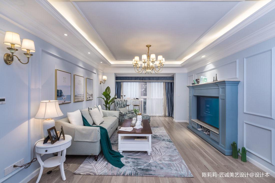 典雅110平美式三居客厅实景图片