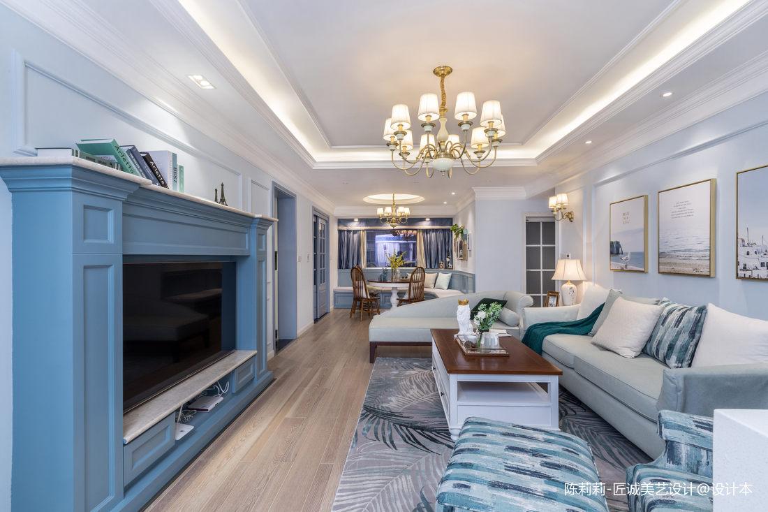 蓝调美式客厅设计图