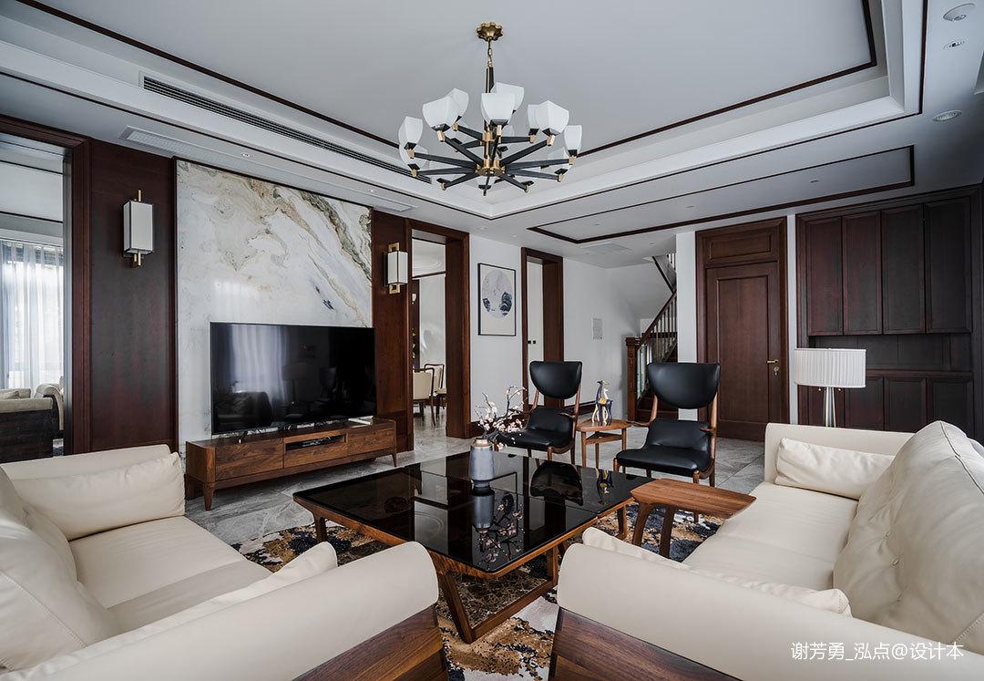 轻奢420平中式别墅客厅案例图