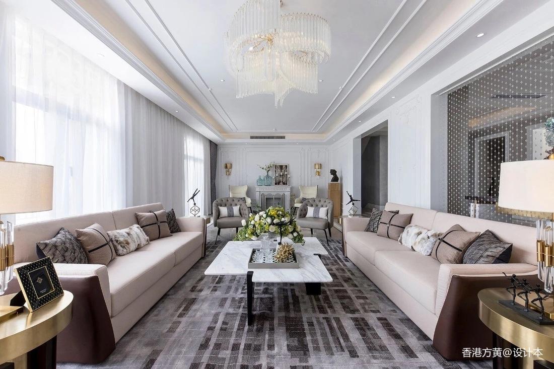 浪漫894平法式別墅客廳裝潢圖