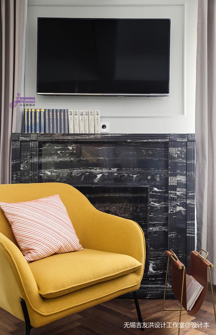 悠雅45平美式复式客厅图片大全