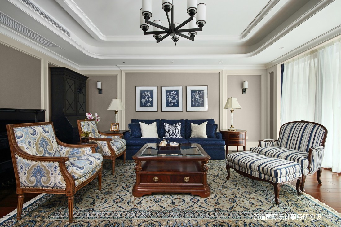 华丽420平美式别墅客厅装修效果图