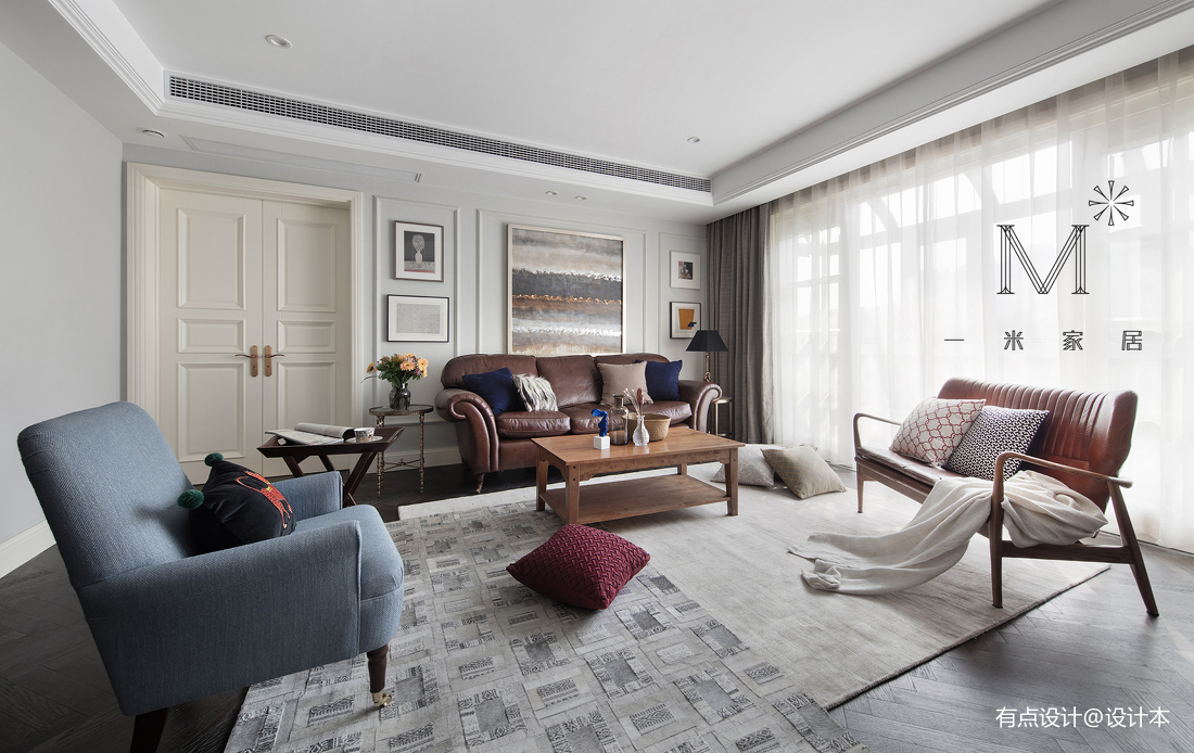 简洁美式复式客厅实景图