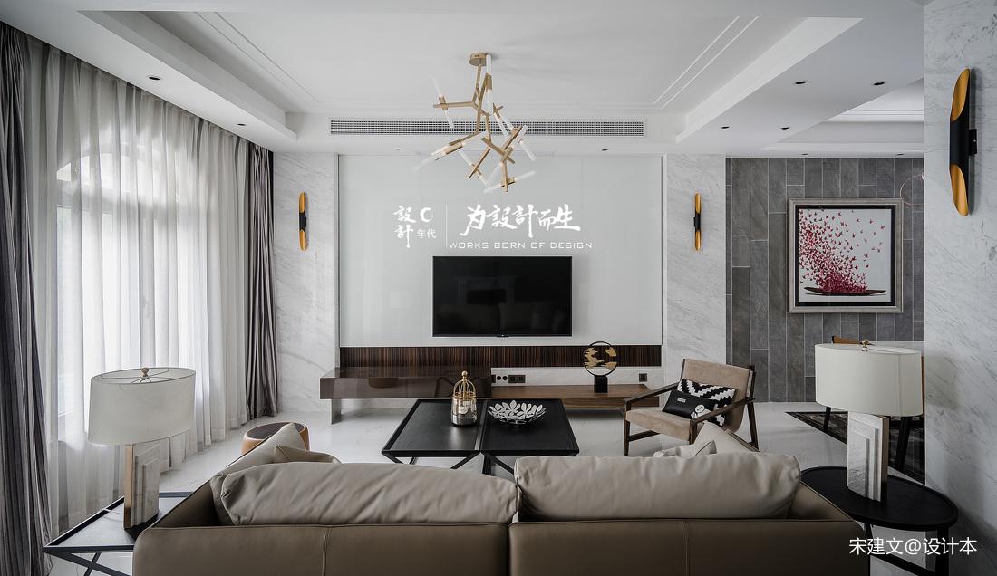 现代风大别墅客厅吊灯设计