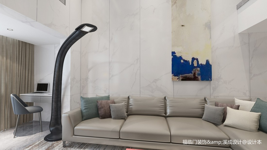 悠雅64平简约复式客厅实景图片