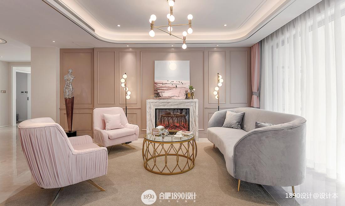 温馨125平法式四居客厅装潢图