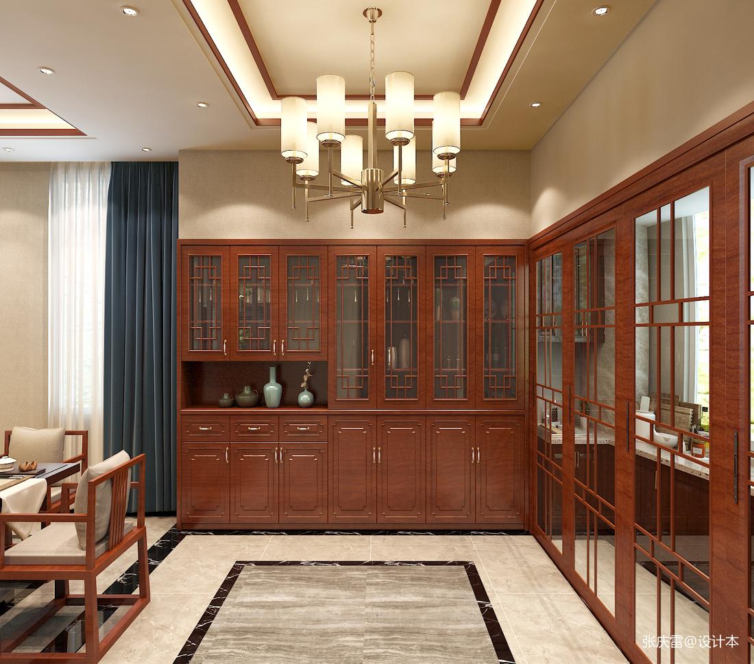 浪漫715平中式别墅餐厅装修设计图