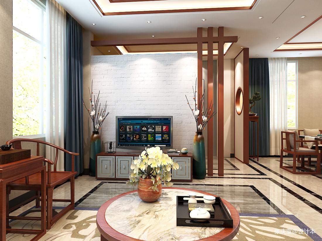 简洁618平中式别墅客厅实景图