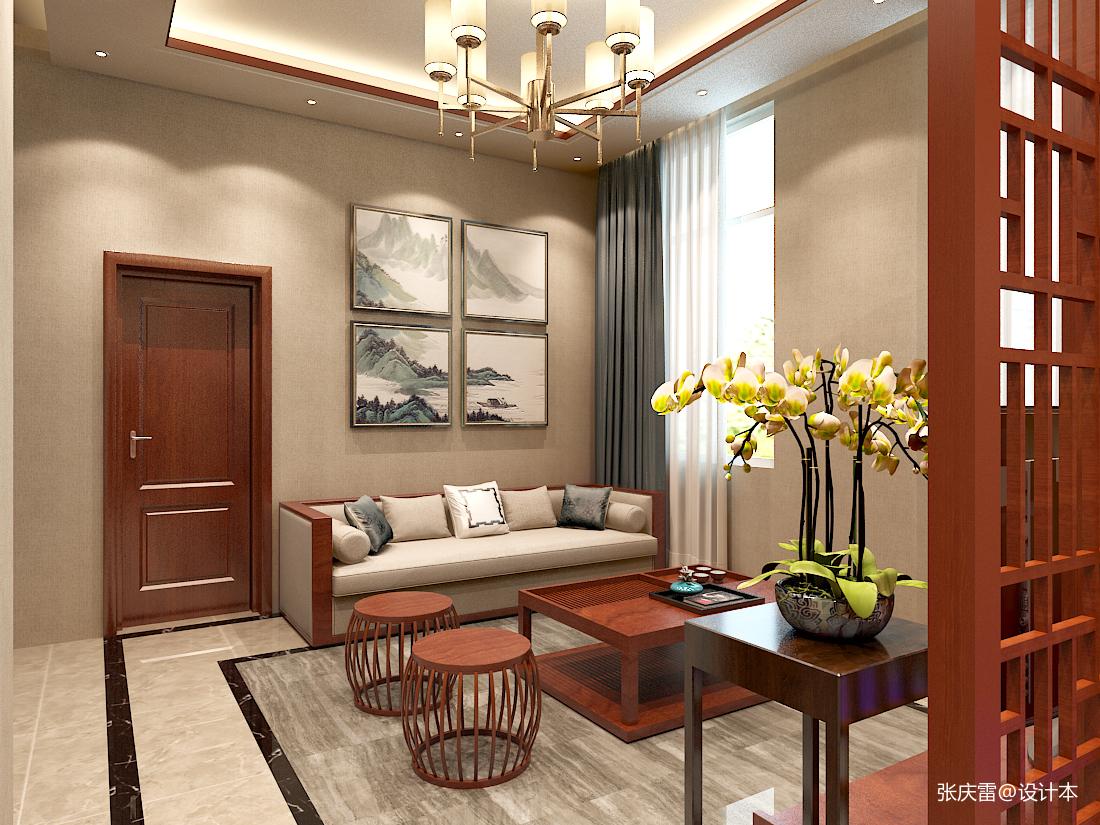 优美308平中式别墅休闲区设计图