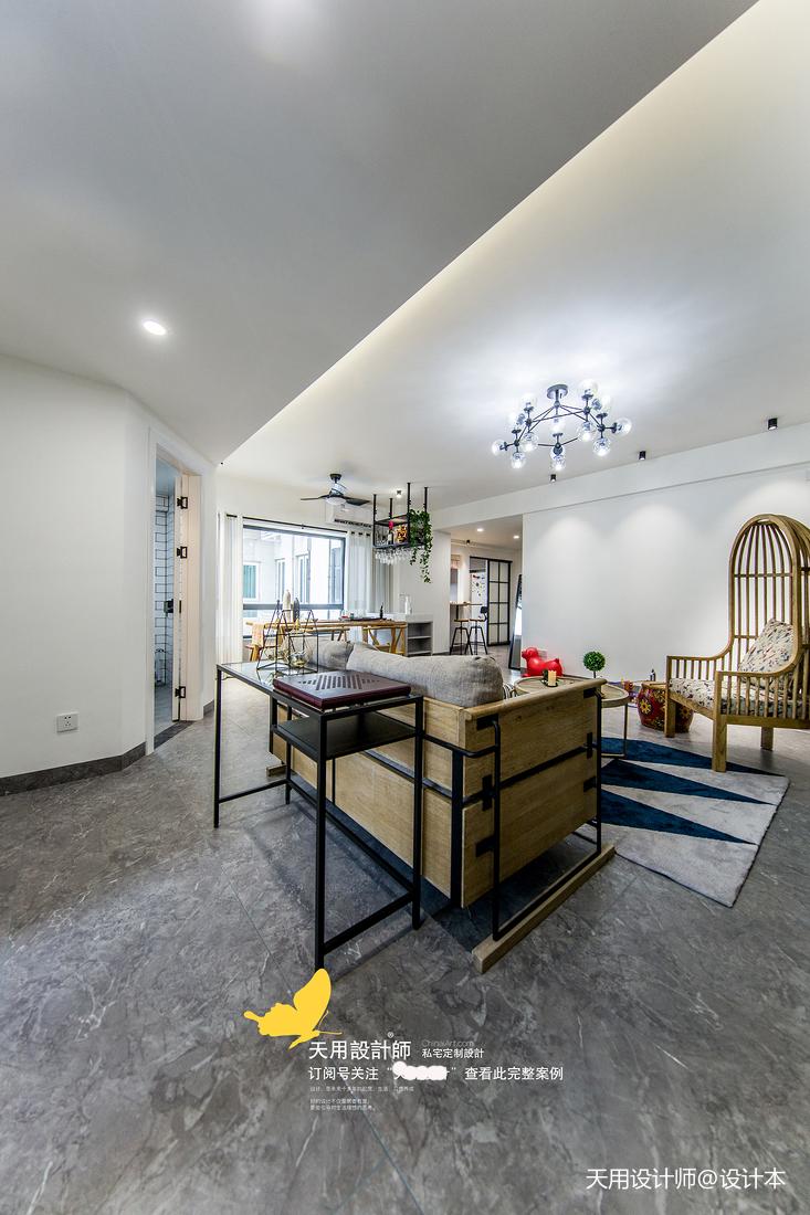 温馨109平北欧四居客厅装修设计图
