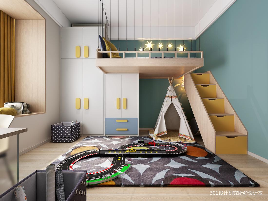 华丽76平北欧复式儿童房实景图