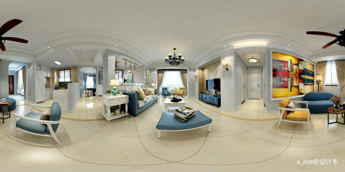 典雅79平地中海二居客厅设计效果图