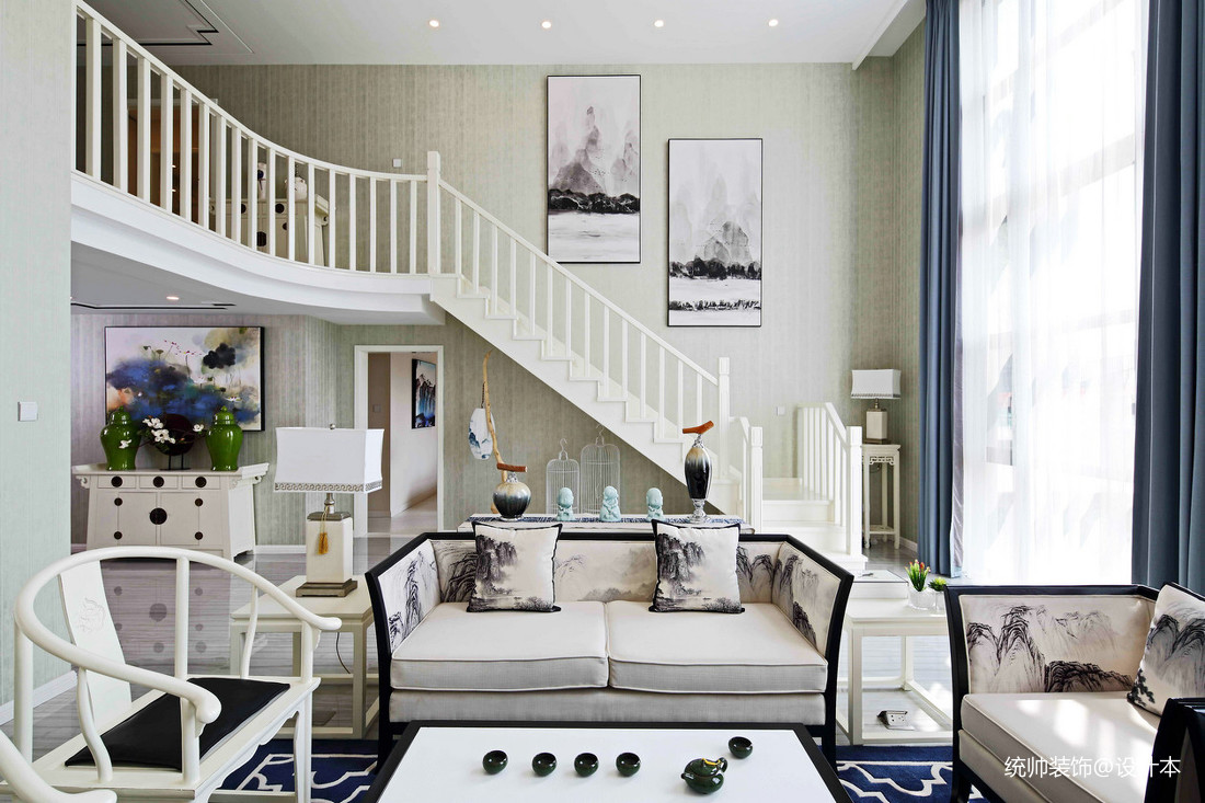 精美59平中式复式客厅效果图欣赏