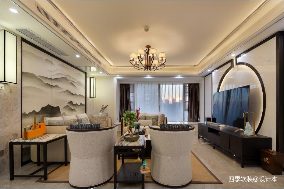 优雅166平中式四居客厅设计美图