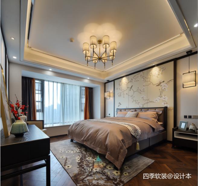 轻奢135平中式四居卧室设计图
