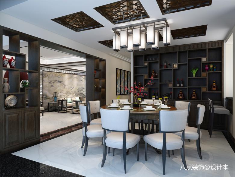 明亮200平中式别墅餐厅实拍图