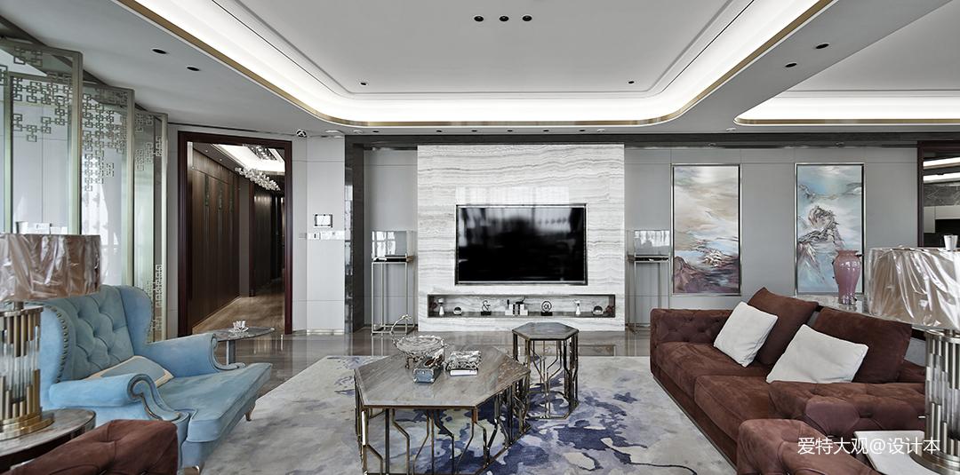 简洁93平混搭四居客厅装修效果图