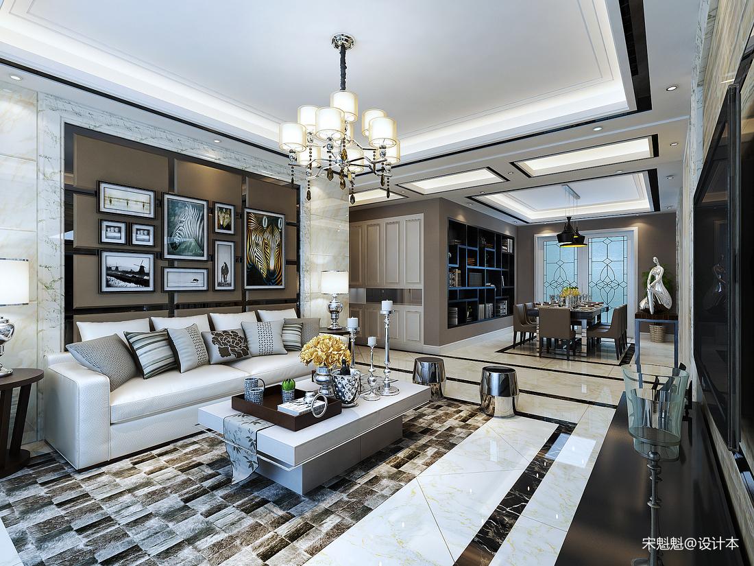 质朴85平欧式三居客厅实景图