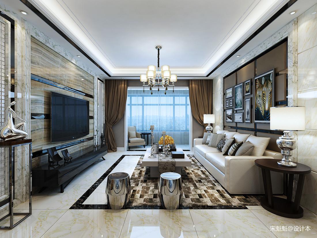典雅96平欧式三居客厅设计图