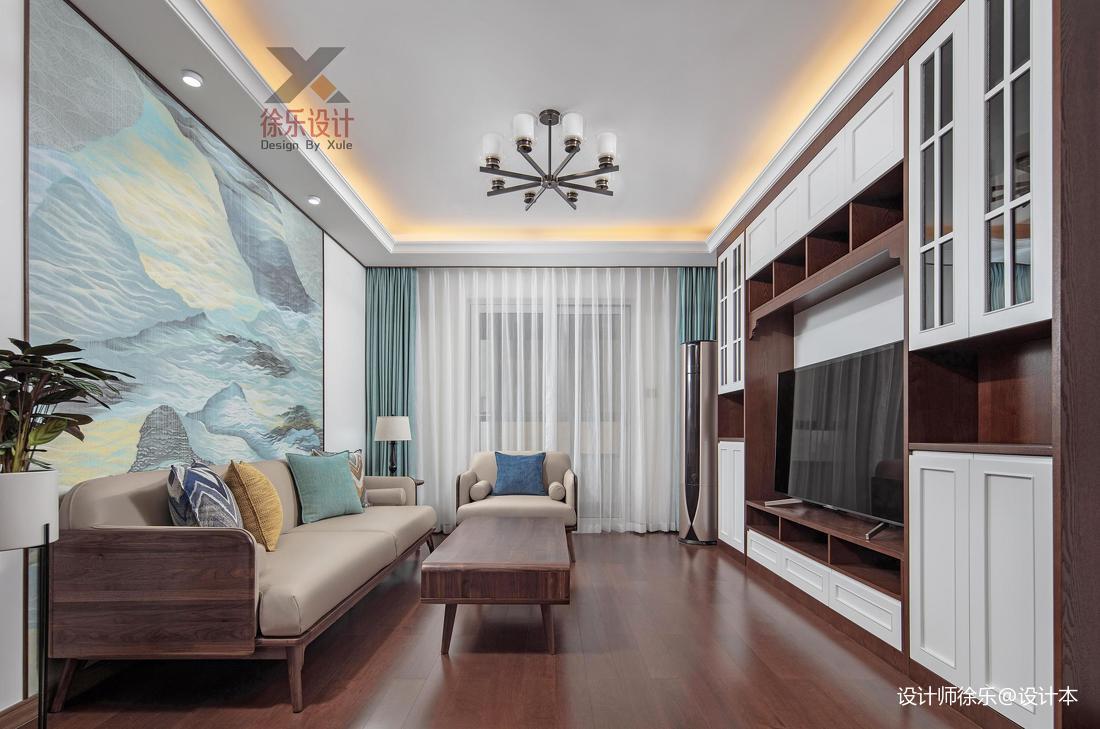 轻奢120平中式三居客厅设计图