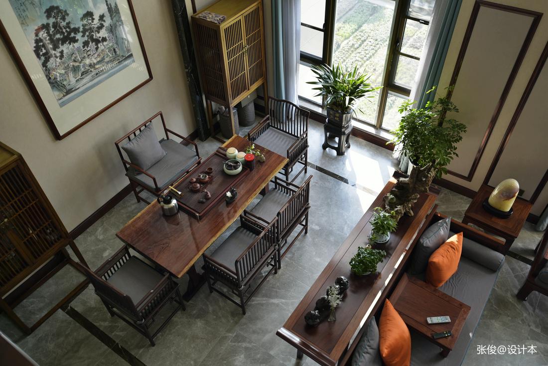 精致61平中式复式客厅设计案例