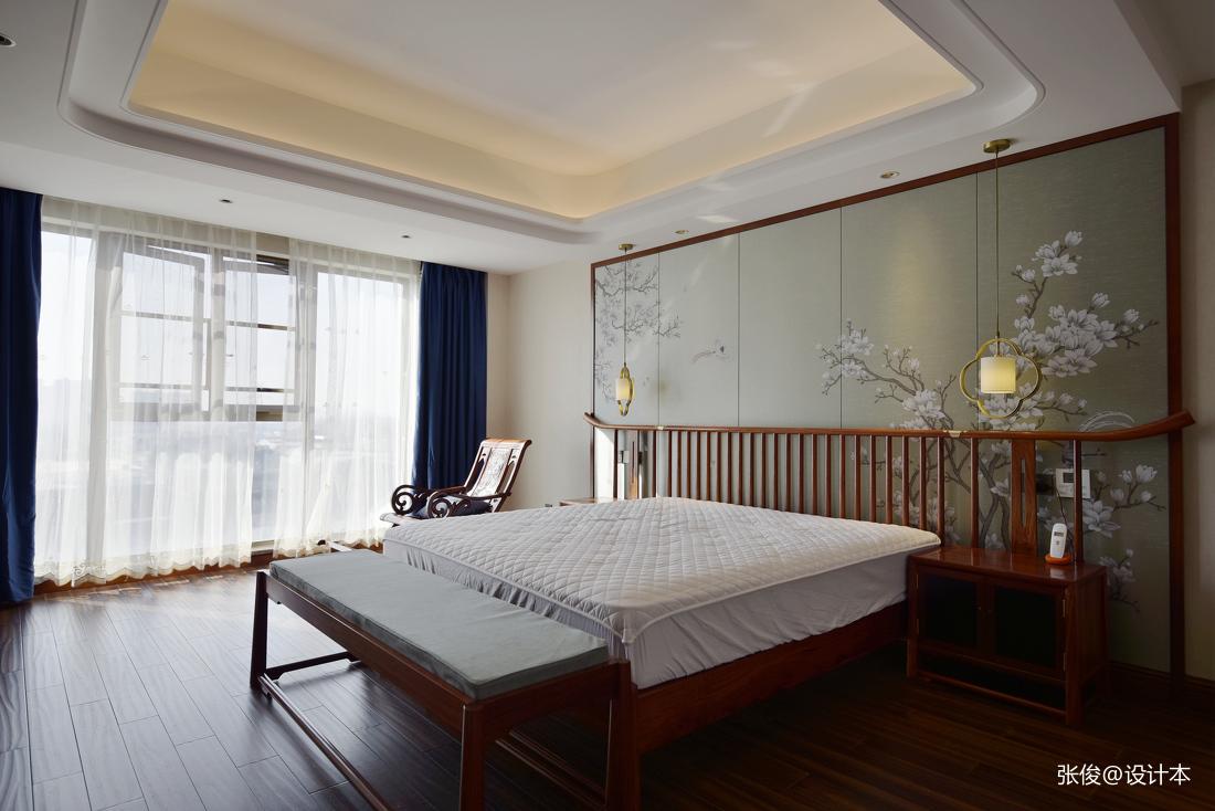 大气63平中式复式卧室装修设计图