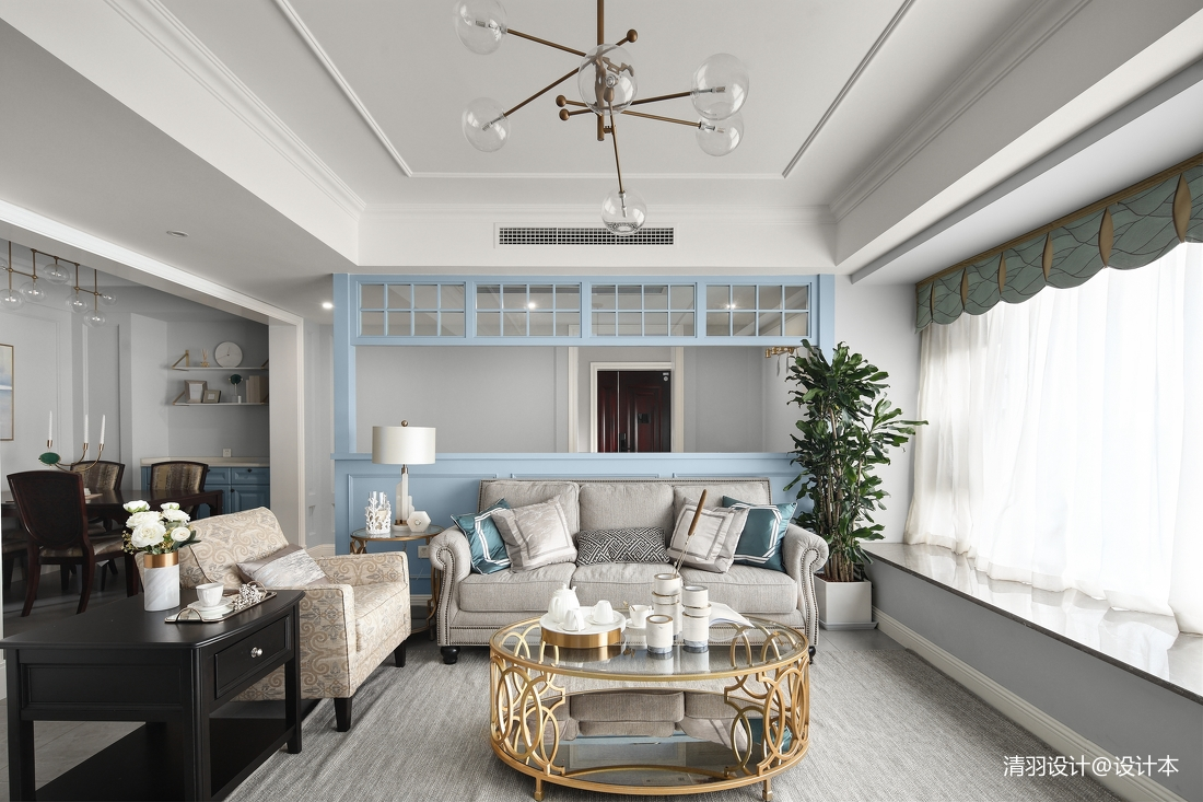 悠雅159平现代四居客厅装饰图