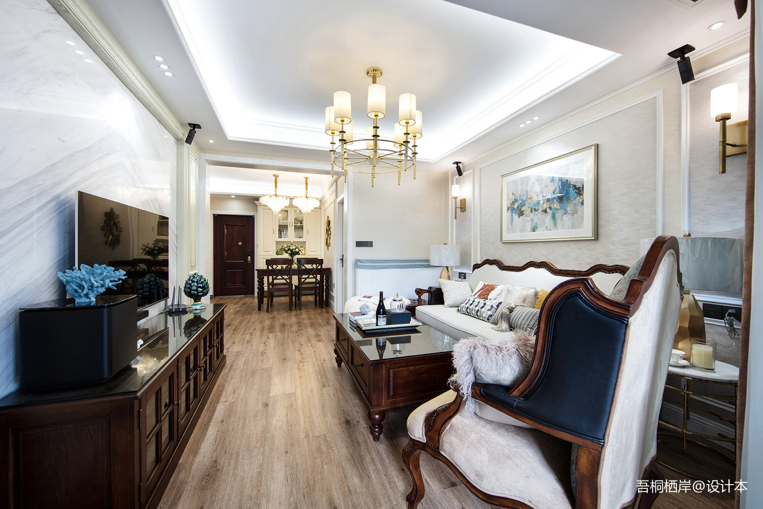 悠雅58平美式二居客厅装修装饰图