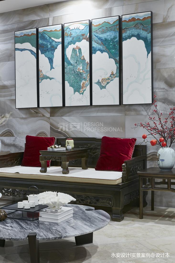 600㎡ 新中式别墅休闲区装饰画图