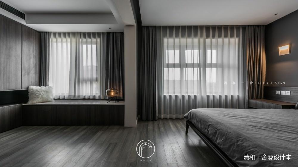 139㎡二居極簡現代臥室飄窗設計