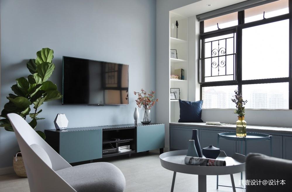 《清风 微蓝》北欧风客厅电视柜设计