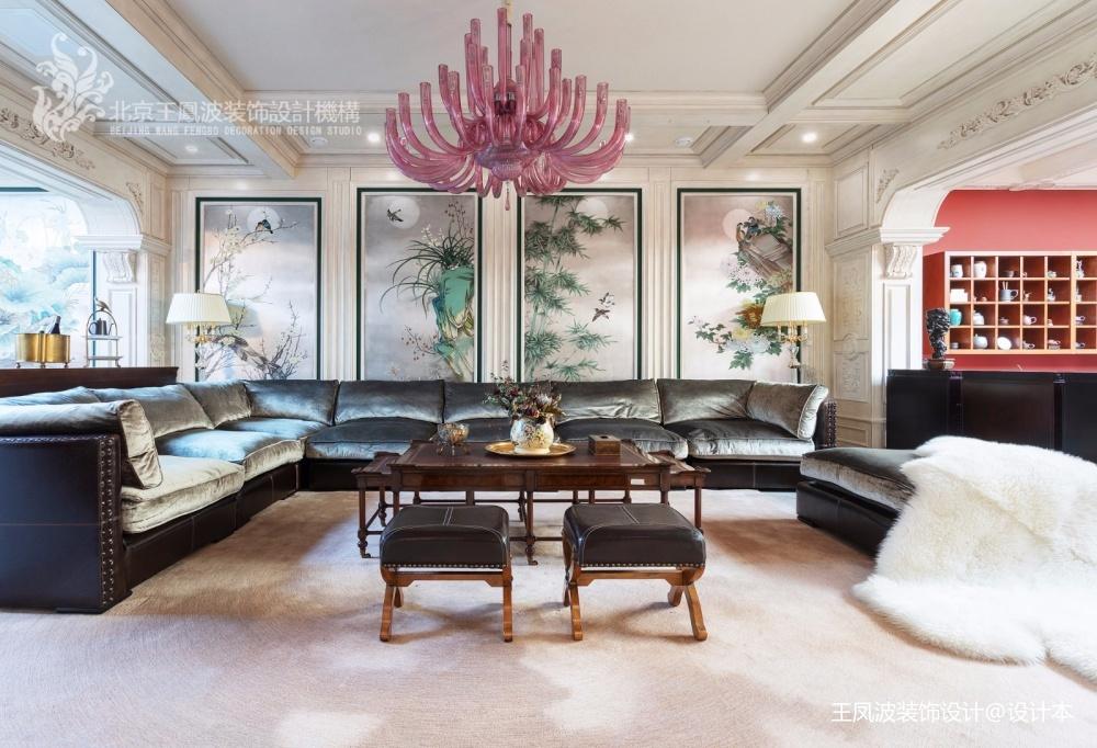 法式風格別墅客廳吊燈圖