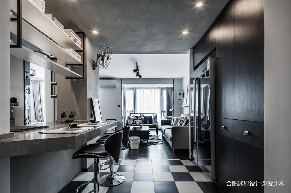北京68㎡黑白灰工业风小户型设计,超实用_3634389