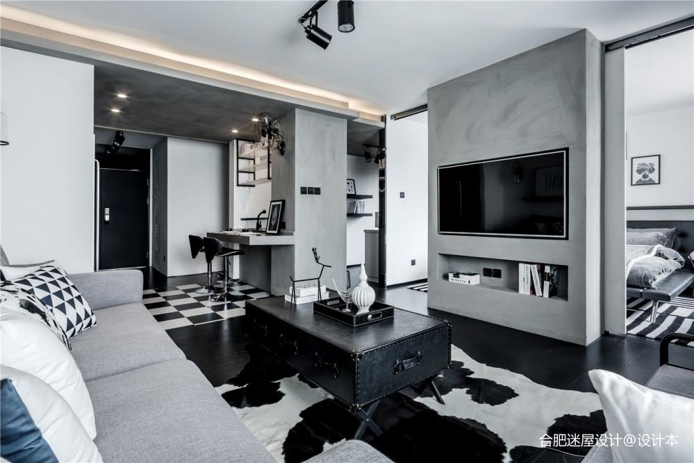 北京68㎡黑白灰工业风小户型设计,超实用_3634392