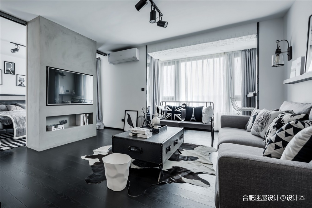 北京68㎡黑白灰工业风小户型设计,超实用_3634394