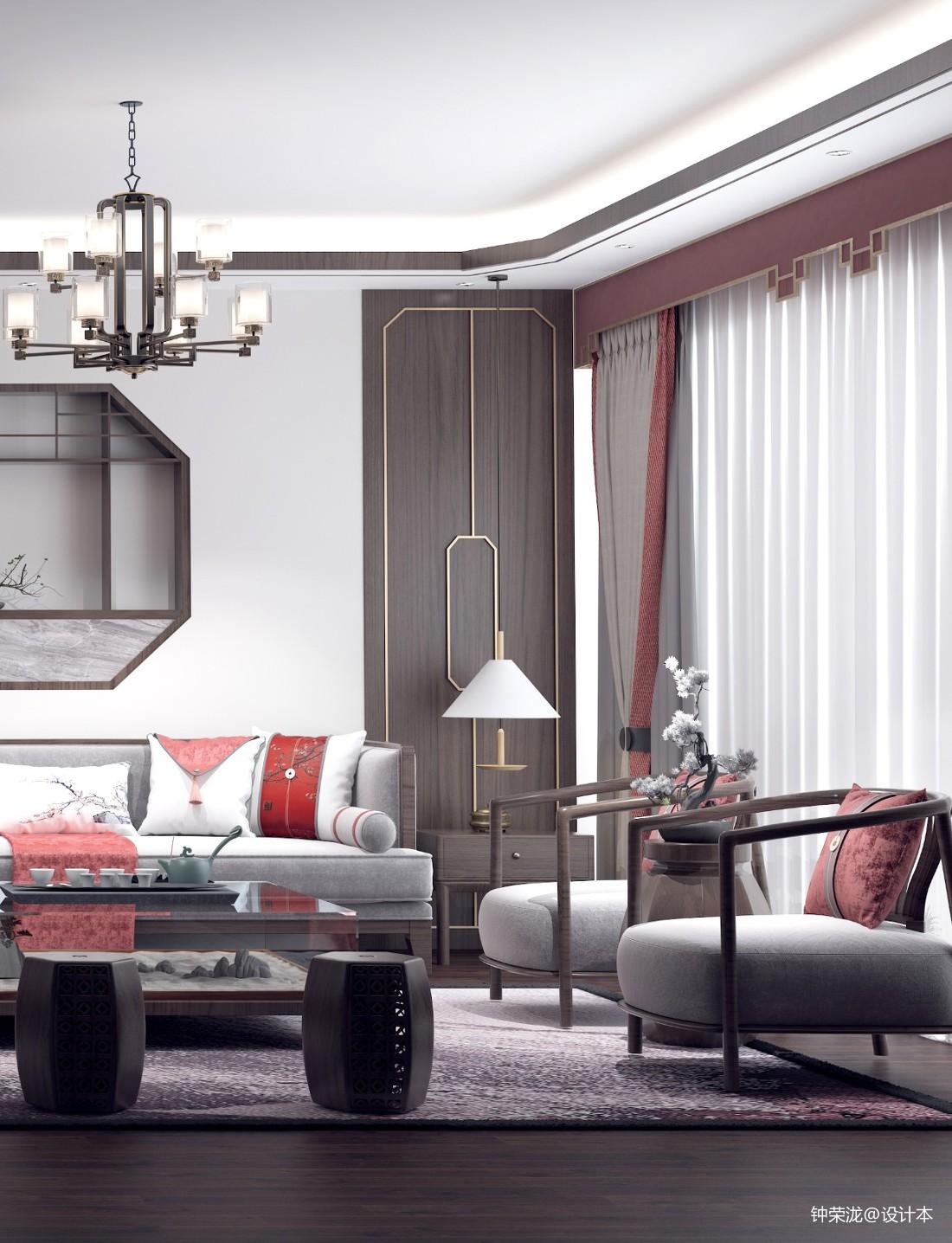 《中國紅》新中式風格家裝客餐廳設計_3916743