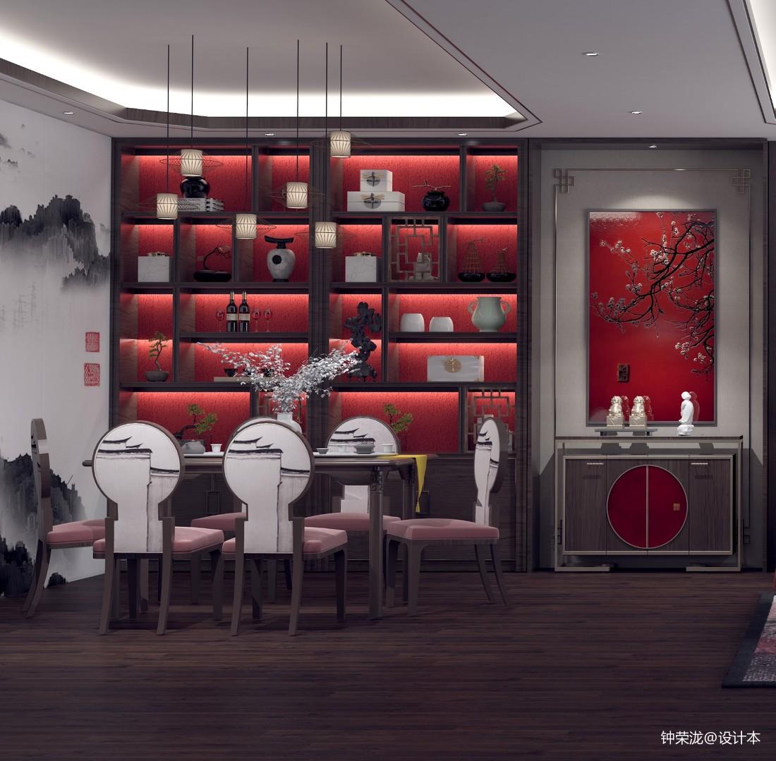 《中國紅》新中式風格家裝客餐廳設計_3916742