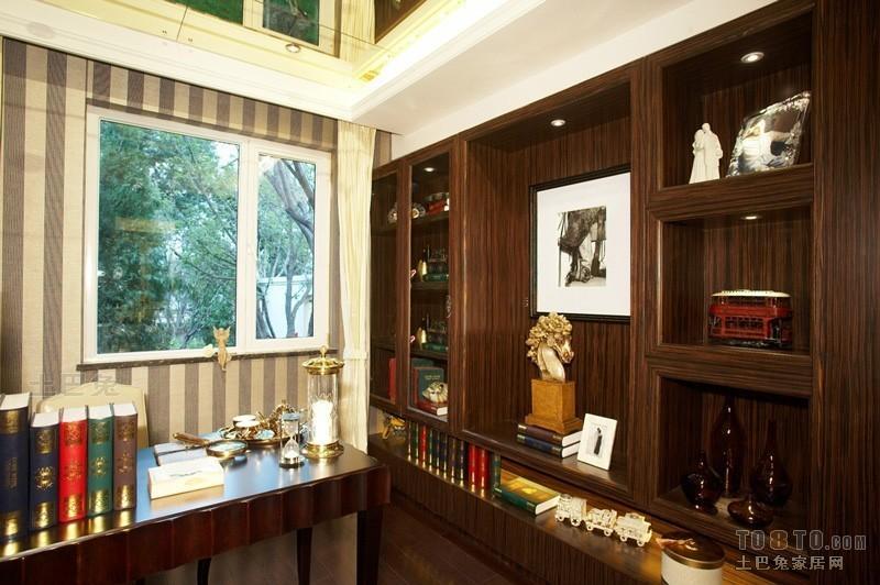 美式室内书房装饰设计效果图