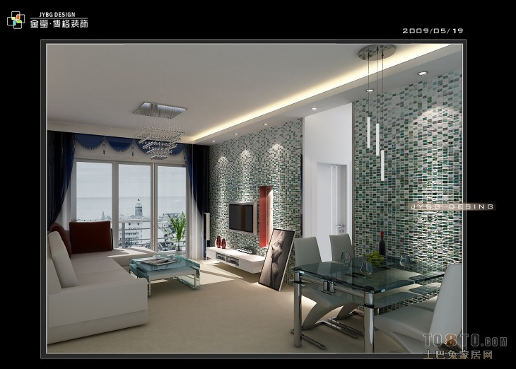 現代簡歐客廳吊頂圖片欣賞