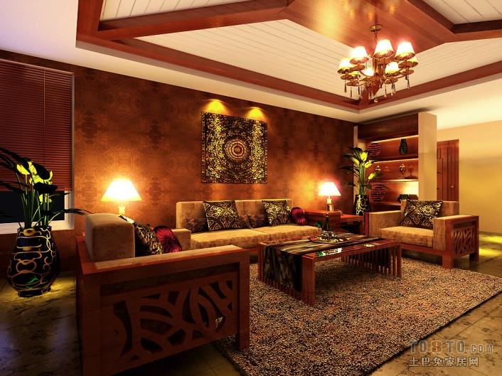 美式风格设计客厅室内装饰图片