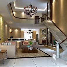 东南亚风格别墅一楼大客厅装修