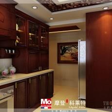 开放式一字型厨房装修效果图片