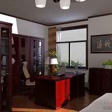 王先生家卧室兼书房书柜面