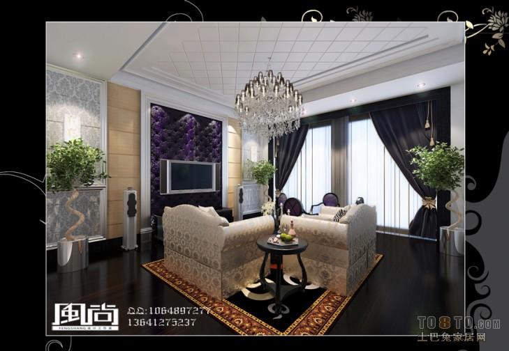 现代别墅卧室室内装饰效果图